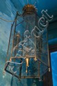 A LARGE GLASS LANTERN PAINTED BY DAVID BROMLEY