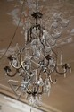 A SIX-BRANCH GLASS CHANDELIER