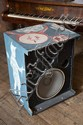 A PAIR OF LARGE FLOOR-STANDING SPEAKERS PAINTED BY DAVID BROMLEY