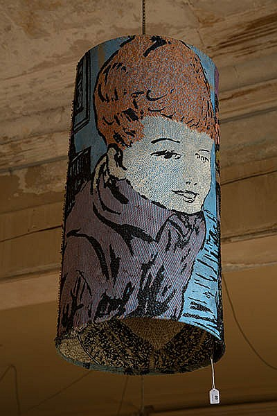 A DAVID BROMLEY EMBROIDERED CYLINDRICAL LIGHTSHADE