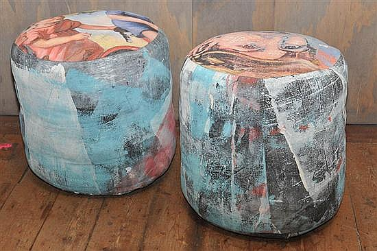 A PAIR OF POUFFES BY DAVID BROMLEY