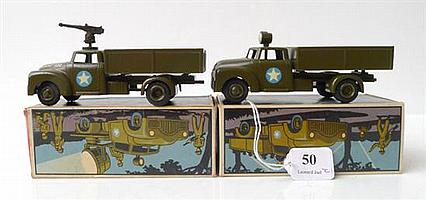 TWO TEKNO (DENMARK) MODELS 950 ARMY TRUCK WITH SOLDIERS, ONE WITH 'TEKNO - 950' TO BONNET (E-M BOXES VG-E) (2)