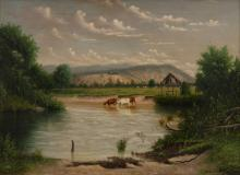 ALFRED WILLIAM EUSTACE (1820-1907) Landscape with Cows oil on canvas