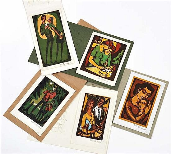 BILL COLEMAN (1922-1993) A Group of Five Christmas Cards 1960s-1970s linocut (5)