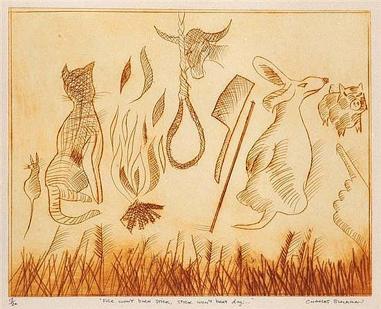 CHARLES BLACKMAN (BORN 1928) Fire won't Burn Stick, Stick won't Beat Dog;... etching 17/20