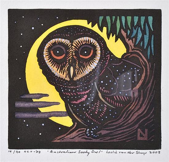 LESLIE VAN DER SLUYS (1939-2010) Australian Sooty Owl 2003 linocut 19/90