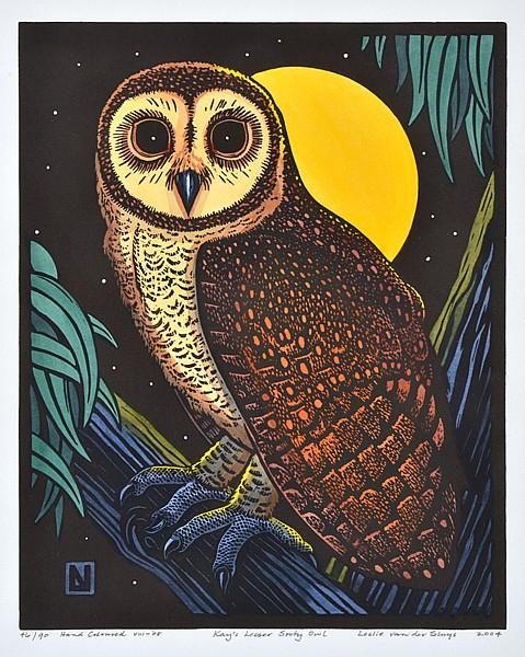 LESLIE VAN DER SLUYS (1939-2010) Kay's Lesser Sooty Owl 2004 linocut 46/90
