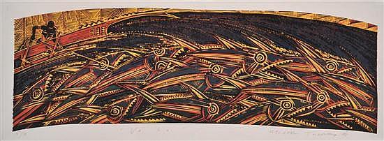 MICHAEL TUFFERY (NEW ZEALANDER, BORN 1966) Va'Sa 1998 colour woodblock 4/4
