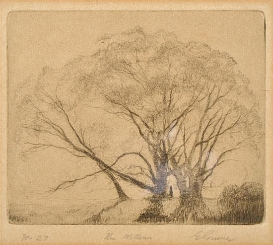 ELIOTH GRUNER (1882-1939) The Willows drypoint no. 27