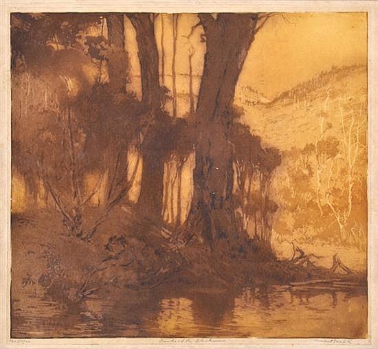 HENRI VAN RAALTE (1881-1929) Banks of the Blackwood soft ground and aquatint etching 18/20
