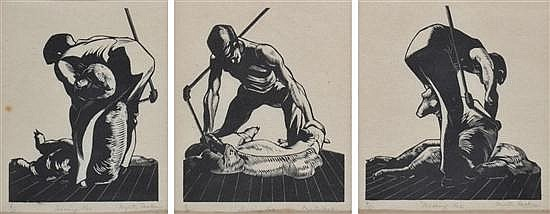 MYRTLE FASKEN (1889-1972) Set of Three Works: i) Shearing no. 1woodcut 6/25ii) Shearing No. 3woodcut 4/35iii) Shearing No. 5woodcut...