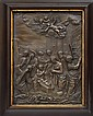 A 19TH CENTURY EMBOSSED BRASS WALL PLAQUE DEPICTING A BIBLICAL SCENE