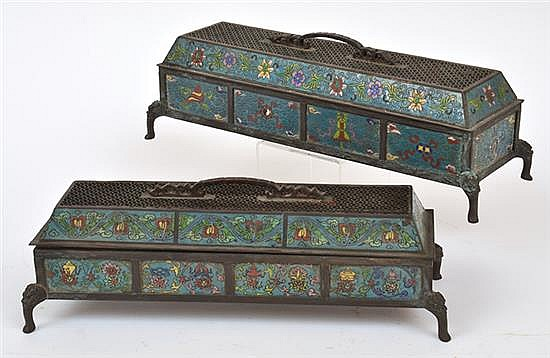 A PAIR OF CHINESE CLOISONNE BOXES