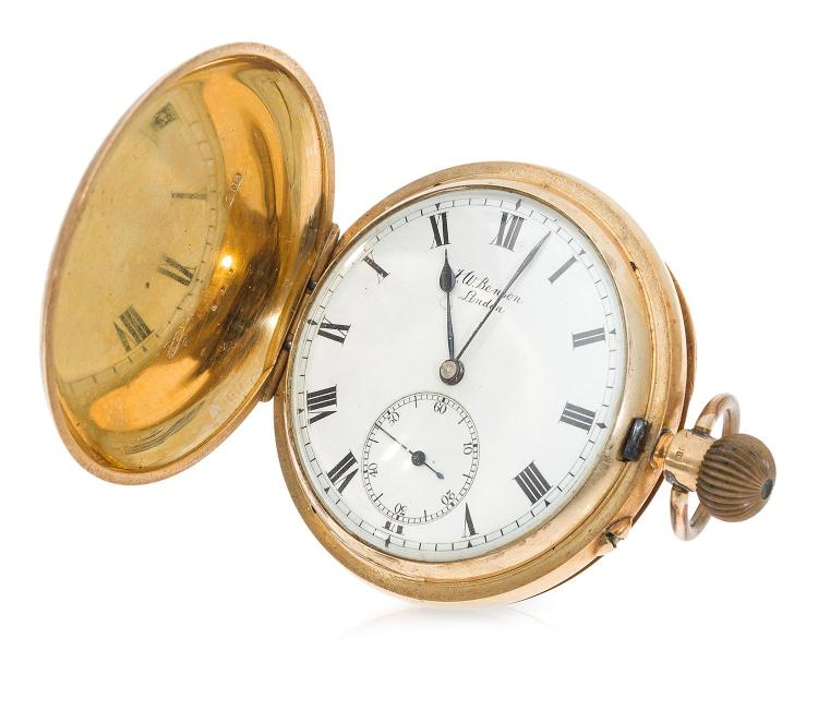 AN ANTIQUE GOLD HUNTER POCKET WATCH BY J.W. BENSON LONDON