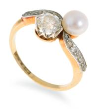 AN ANTIQUE PEARL AND DIAMOND RING