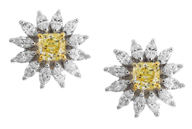 A Pair Of Yellow And White Diamond Cluster Earrings