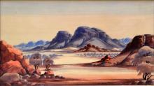 CLAUDE PANNKA, LANDSCAPE, WATERCOLOUR, 35 X 51CM