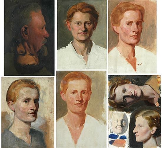 Jean Sutherland (1902-1978) Six Portraits oil on canvas on board (5), oil on plaster (1)