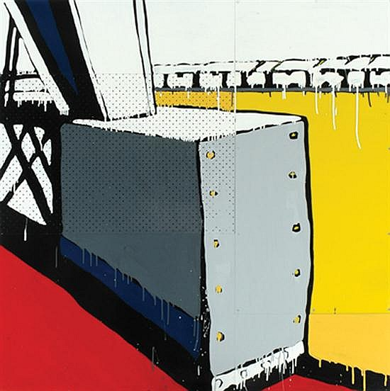 Jasper Knight (born 1978) The Edge of North Wharf 2006 enamel, masonite and perspex on board