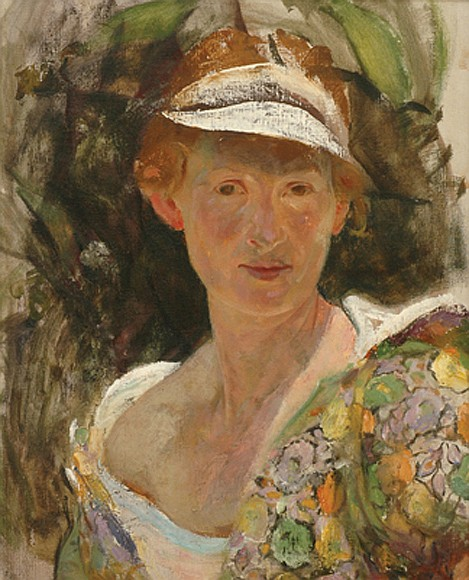 Jean P. Sutherland (1902-1978) Self Portrait with Floral Shawl oil on canvas
