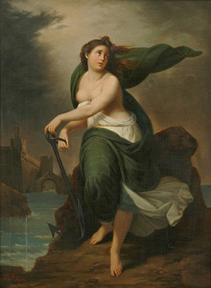 Achille Leonardi (Italian, 1800-1870) Classical Woman in Landscape oil on canvas