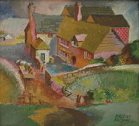 Vincent Brown (1901-2001) English Farm 1937 oil on canvas on board
