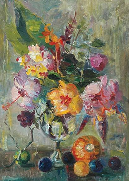 Margaret Coen (1913-1993) Summer Flowers with Fruit of the Earth 1960 oil on canvas