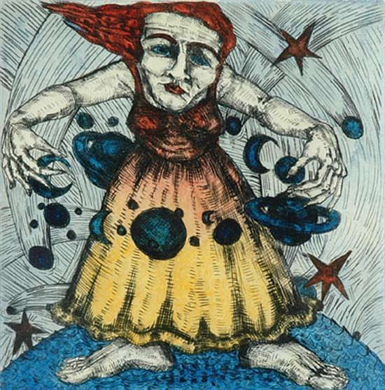 Julie Haas (born 1952) Orbit Woman 1999 drypoint etching and watercolour 1/15