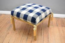 A MODERN DOWNFILLED OTTOMAN IN BLUE WOOLLEN CHECK UPHOLSTERY