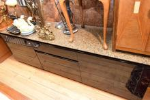 A MODERN BLACK LACQUERED SIDEBOARD w/ GRANITE TOP