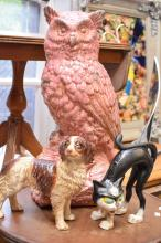 A CAST IRON DOG AND CAT AND CERAMIC OWL