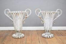 A PAIR OF WHITE PAINTED WROUGHT METAL GARDEN PLANTERS (62 CM H)