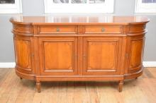 AN EMPIRE STYLE CHERRYWOOD SIDEBOARD - SIGNED 'ROLLAND' (193 X 54 X 100 CM) surface scratch