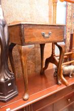 A QUEEN ANNE STYLE FOOT STOOL AND BEDSIDE TABLE