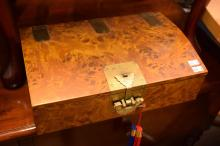 A JAPANESE TRINKET BOX WITH BRASS FITTINGS