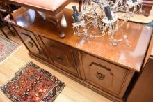 AN ANTIQUE STYLE THREE DOOR SIDEBOARD (miner scratches to top).