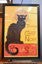 A LARGE PRINT OF 'CHAT NOIR' IN BLACK FRAME