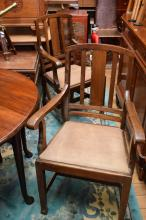 FOUR ASSORTED ANTIQUE DINING CHAIRS, LEATHER AND TAPESTRY SEATS