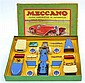 RARE MECCANO AUTOMOBILE CONSTRUCTOR SET 1, SPANISH ISSUE, BLUE, CREAM AND RED PARTS STRUNG (REPLACED) TO YELLOW INNER CARD WITH INST...