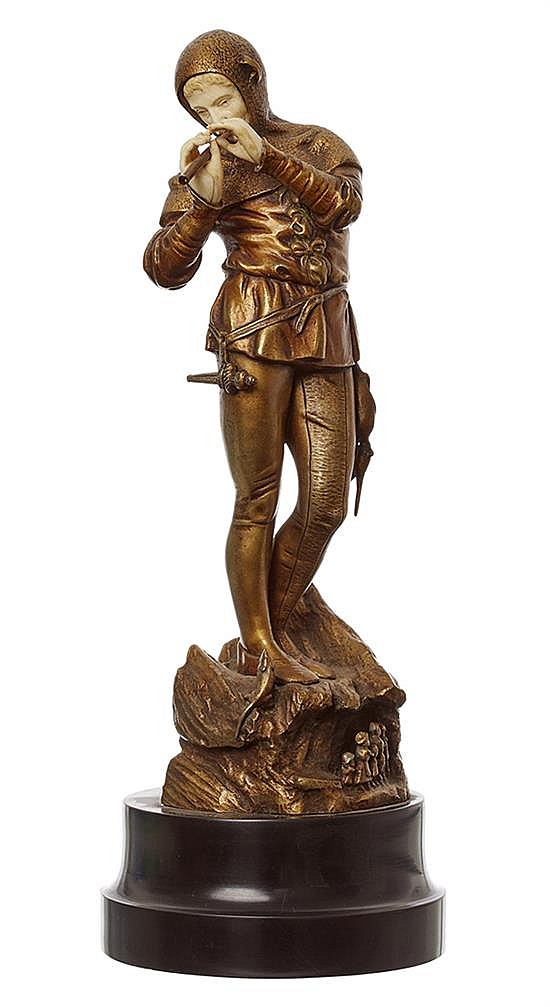 A RARE EUGENE BARILLOT (FRENCH, 1841-1900) GILT BRONZE AND IVORY 'PIED PIPER' FIGURE, CIRCA 1890