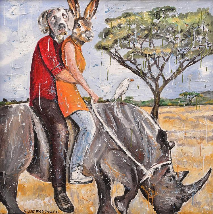 § GILLIE AND MARC SCHATTNER (born 1965 and 1961) Some Called Them Crazy But They Thought Of Themselves As Just Wild At Heart oil on...