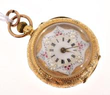 A LADIES POCKETWATCH IN 18CT GOLD CASE