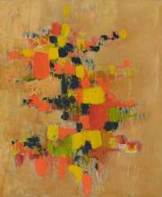 SIGNED ILLEGIBLY LOWER RIGHT, RED AND YELLOW ABSTRACT WITH SQUARES, MIXED MEDIA ON BOARD, 59 X 49CM
