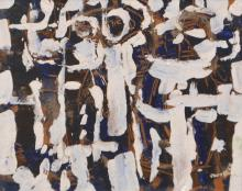 ROY CHURCHER, ALMOST ANGELS 1962, MIXED MEDIA ON BOARD, 30 X 38CM