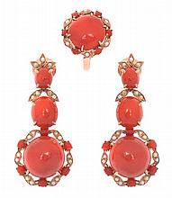 A CORAL JEWELLERY SUITE