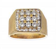 A GENTS DIAMOND SIGNET RING