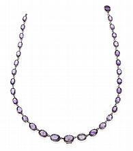 A VICTORIAN AMETHYST RIVIERE NECKLACE