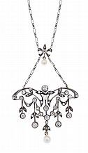 AN ANTIQUE DIAMOND AND PEARL PENDANT/NECKLACE