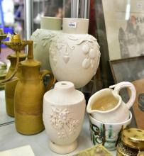 A COLLECTION OF UNGLAZED AUSTRALIAN POTTERY, INCL. MERRIC BOYD STYLE