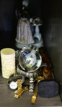 A PART SHELF OF ASSORTED ITEMS INCL. WATCHES, PORCELAIN GROUP ETC.